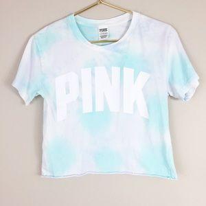 Pink Victoria's Secret Tie dye crop T-shirt